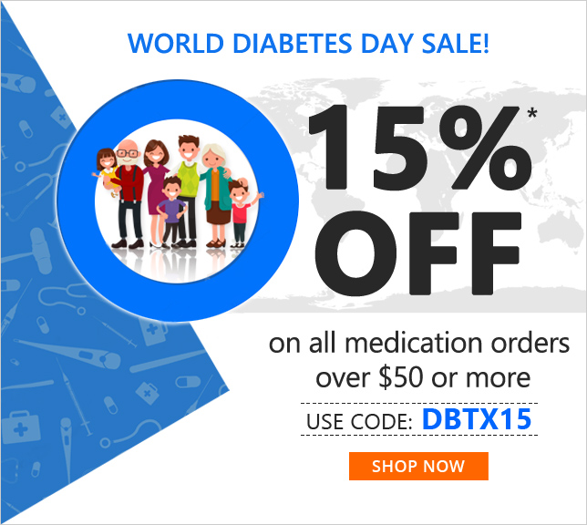 Apply Coupon DBTX15 and get 15% off on All medications
