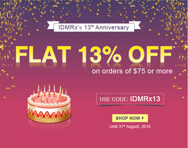 Apply Coupon IDMRX13 and get 13% off