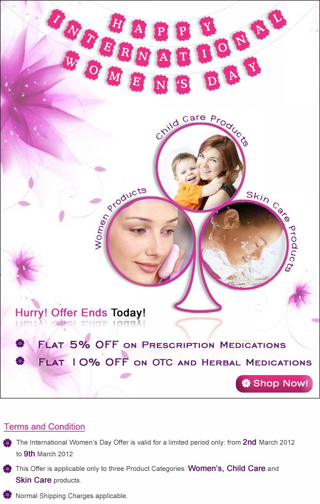 Women's Day Special Discount upto 10% Off at International Drug Mart