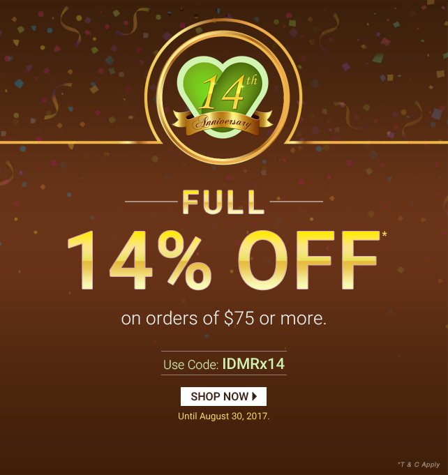Apply Coupon IDMRx14 and get 14% off