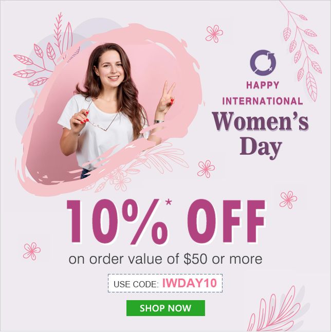 Apply Coupon IWDAY10 and get 10% OFF on orders of $50 & above