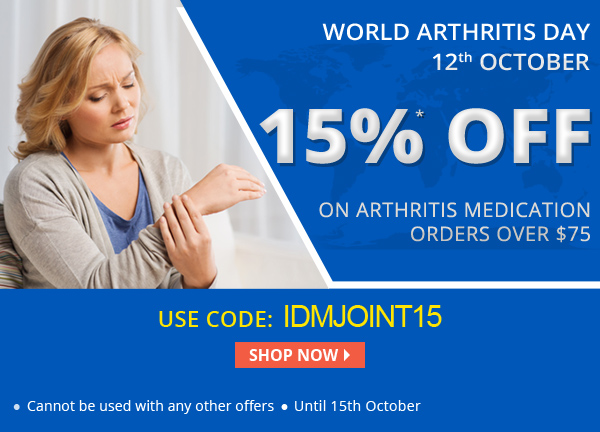 Apply Coupon IDMJOINT15 and get 15% off on arthritis medications