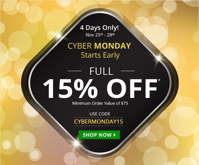 Use Coupon 'CYBERMONDAY15' and get 15% off on all your medications