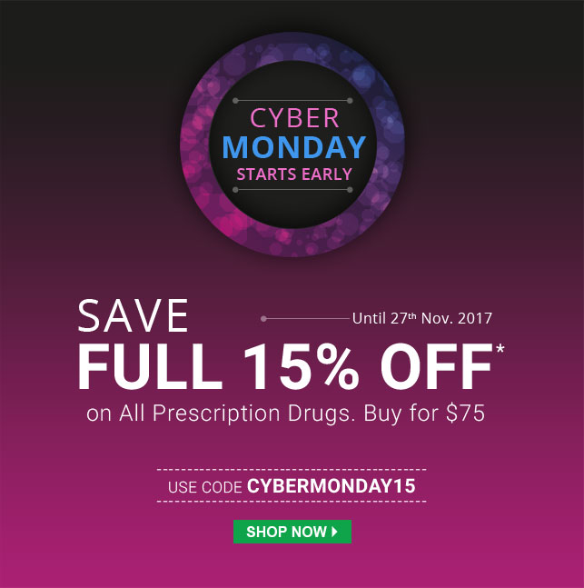 Apply Coupon CYBERMONDAY15 and get 15% off on Prescription Drugs.