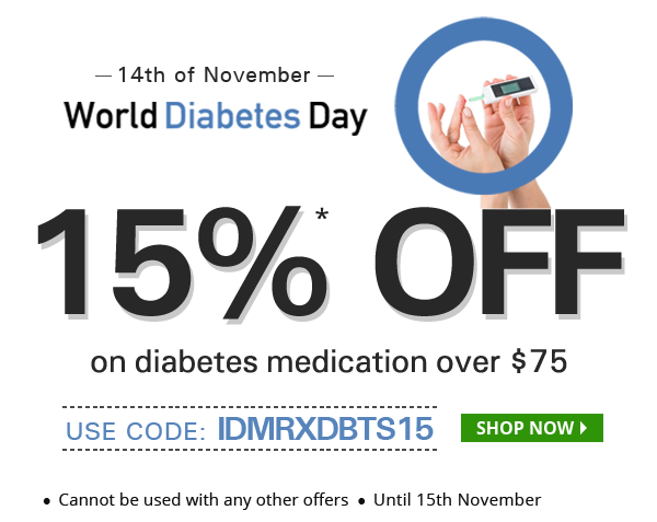Apply Coupon IDMRXDBTX15 and get 15% off on diabetes medications