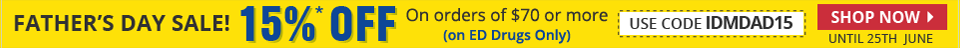 Get Flat 15% Discount on ED Drugs for orders value $70 or more