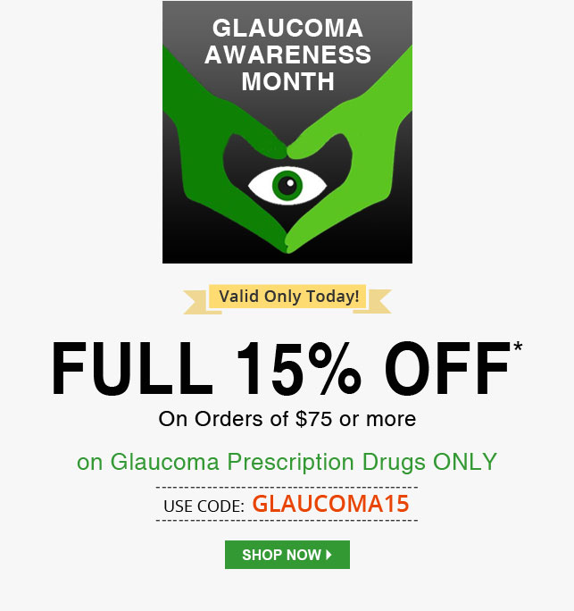 Apply Coupon GLAUCOMA15 and get 15% off on all Medications.