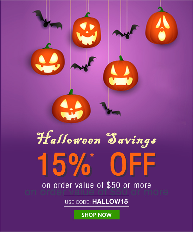 Apply Coupon HALLOW15 and get 15% OFF on orders of $50 & above