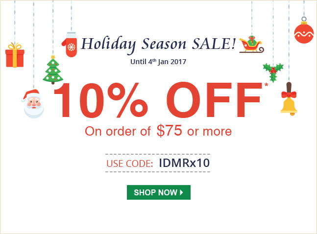 Apply Coupon IDMRx10 and get 10% off