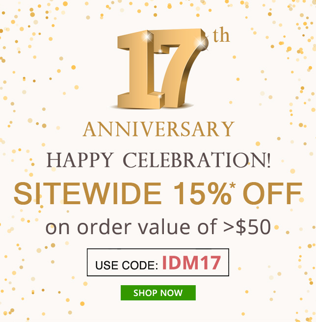 Apply Coupon IDM17 and get 15% OFF on orders of $50 & above