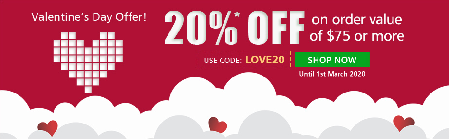 Use Coupon Code 'LOVE20' 20% OFF on orders of $75 & above