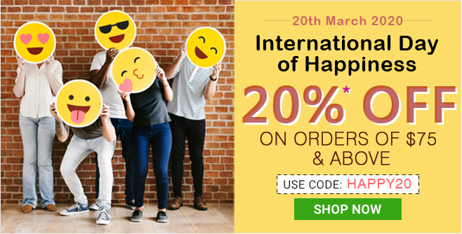 Apply Coupon HAPPY20 and get 20% OFF on orders of $75 & above