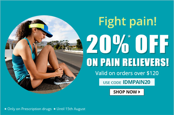 Apply Coupon IDMPAIN20 and get 20% off on Pain Relievers