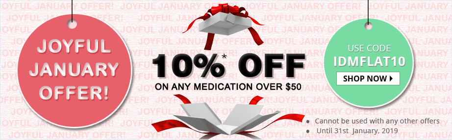 Get Flat 10% Discount on all medication for order value $50 or More