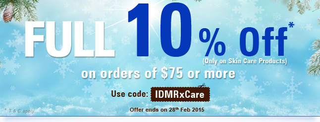 10% off on Skin care & skin treatment products.