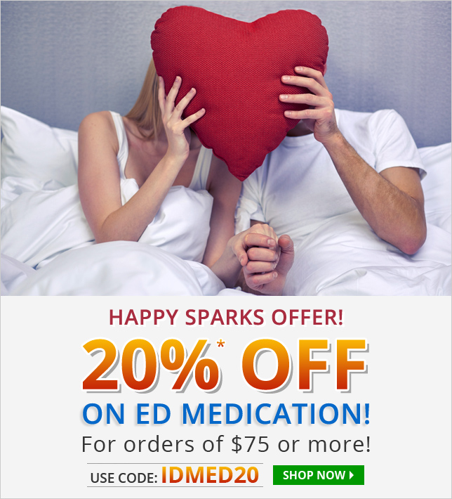 Apply Coupon IDMED20 and get 20% off on ED medications