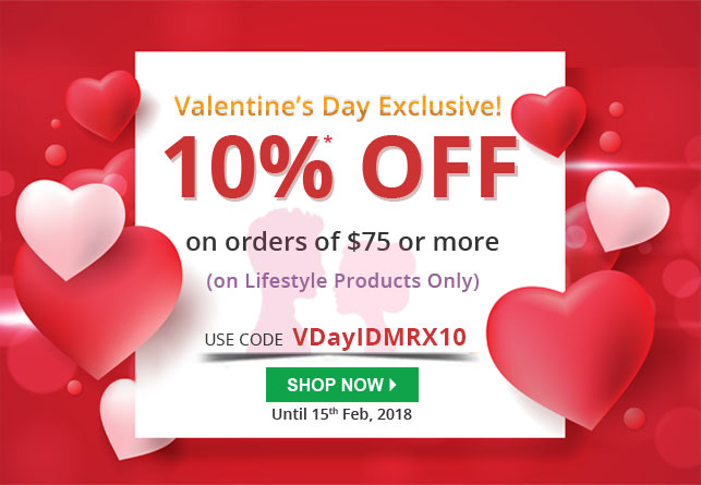 Apply Coupon VDayIDMRX10 and get 10% off on Lifestyle Products .