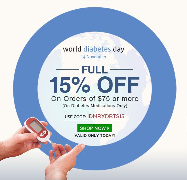 Apply Coupon IDMRXDBTS15 and get 15% off on Diabetes Medications