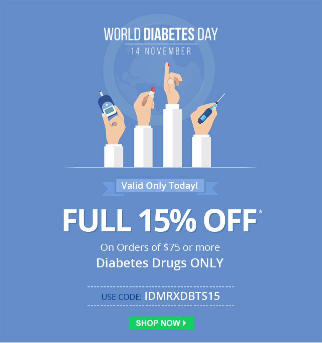 Apply Coupon IDMRXDBTS15 and get 15% off on Diabetes Medications.