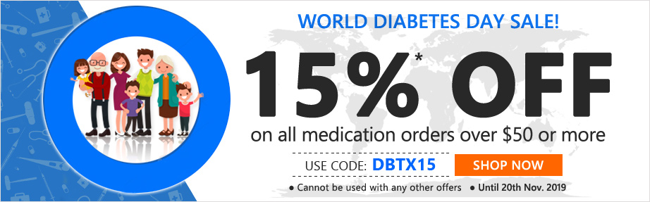 use Coupon Code 'DBTX15' Get 15%* OFF on all medications orders of $50 or more