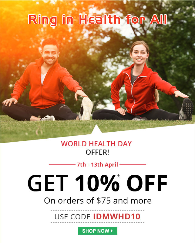 Apply Coupon IDMWHD10 and get 10% off on all Medications.