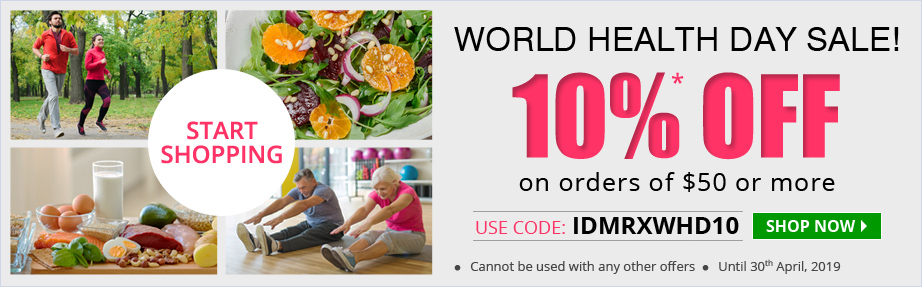 use Coupon Code 'IDMRXWHD10' Get 10%* OFF Sitewide orders of $50 or more