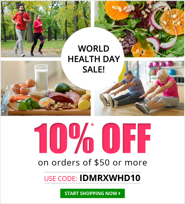 Apply Coupon IDMRXWHD10 and get 10% off on all medications