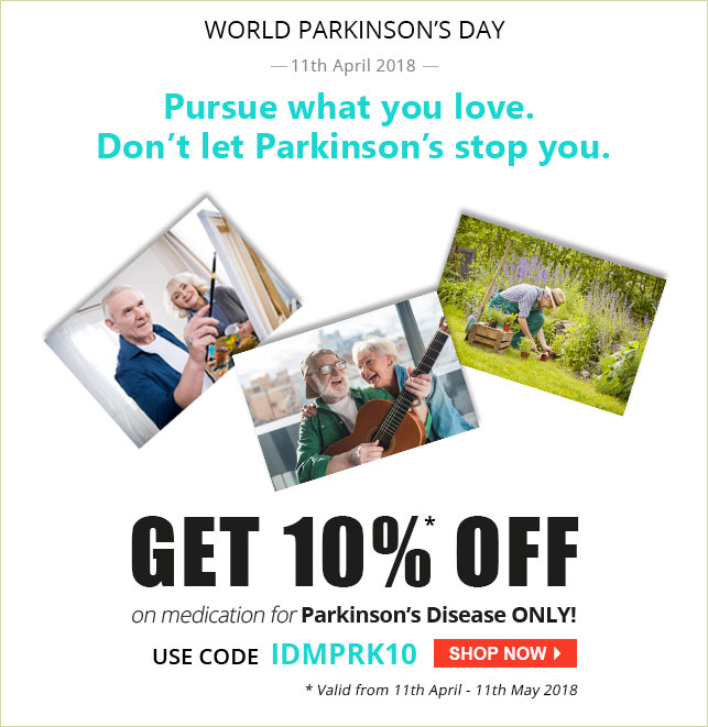Apply Coupon IDMPRK10 and get 10% off on Anti-Parkinson Medication.