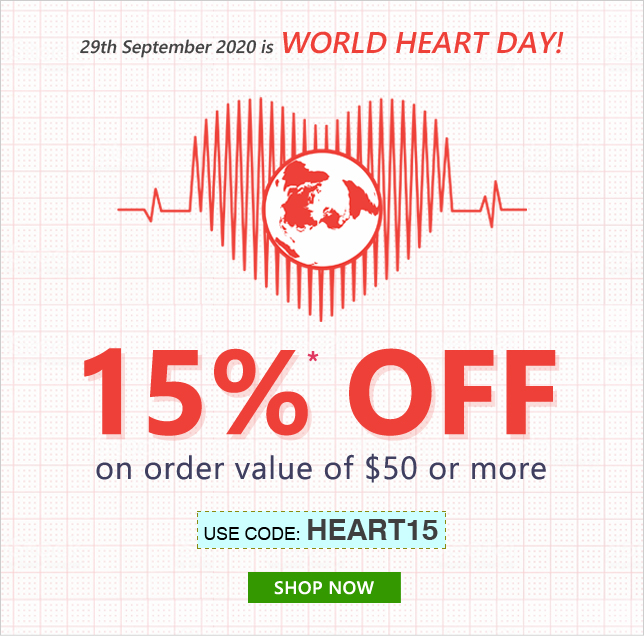 Apply Coupon HEART15 and get 15% OFF on orders of $50 & above