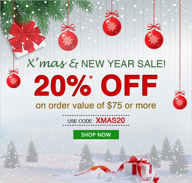 Apply Coupon XMAS20 and get 20% OFF on orders of $75 & above
